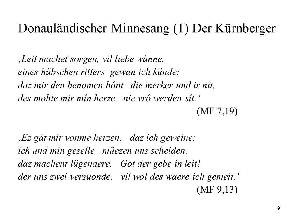 Donauländischer Minnesang (1) Der Kürnberger
