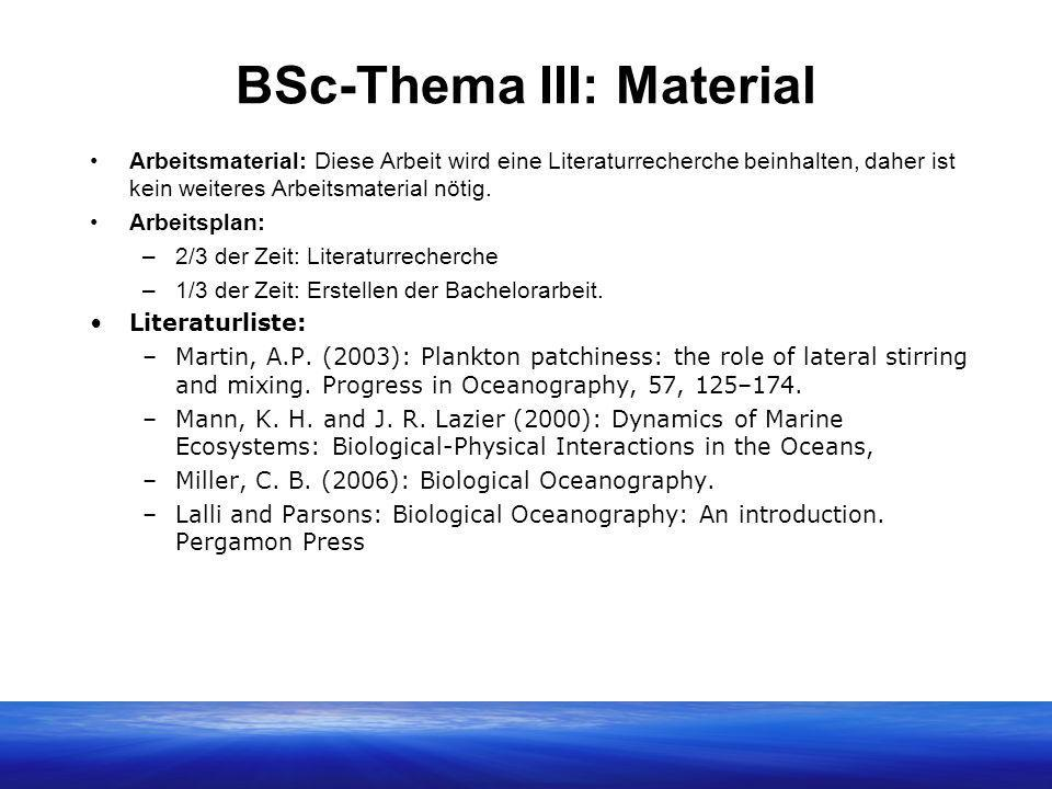 BSc-Thema III: Material