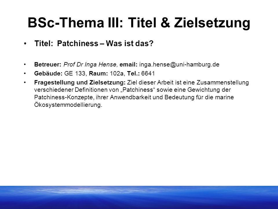 BSc-Thema III: Titel & Zielsetzung