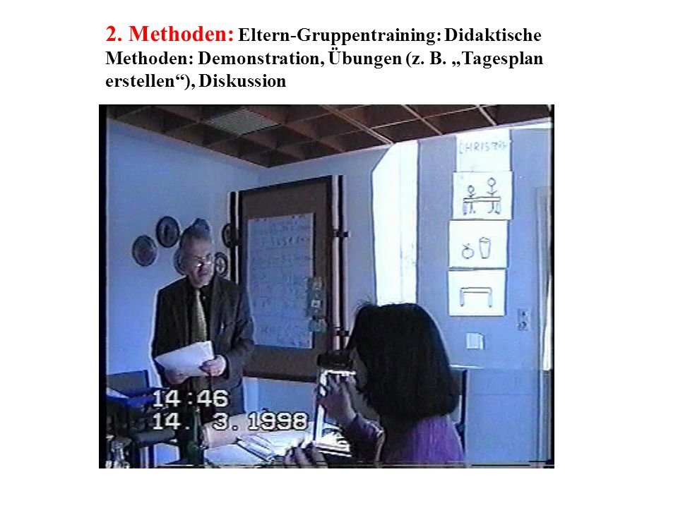 2. Methoden: Eltern-Gruppentraining: Didaktische Methoden: Demonstration, Übungen (z.