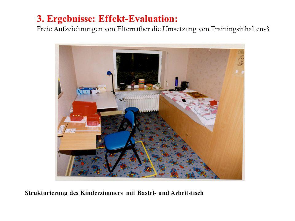 3. Ergebnisse: Effekt-Evaluation: Freie Aufzeichnungen von Eltern über die Umsetzung von Trainingsinhalten-3