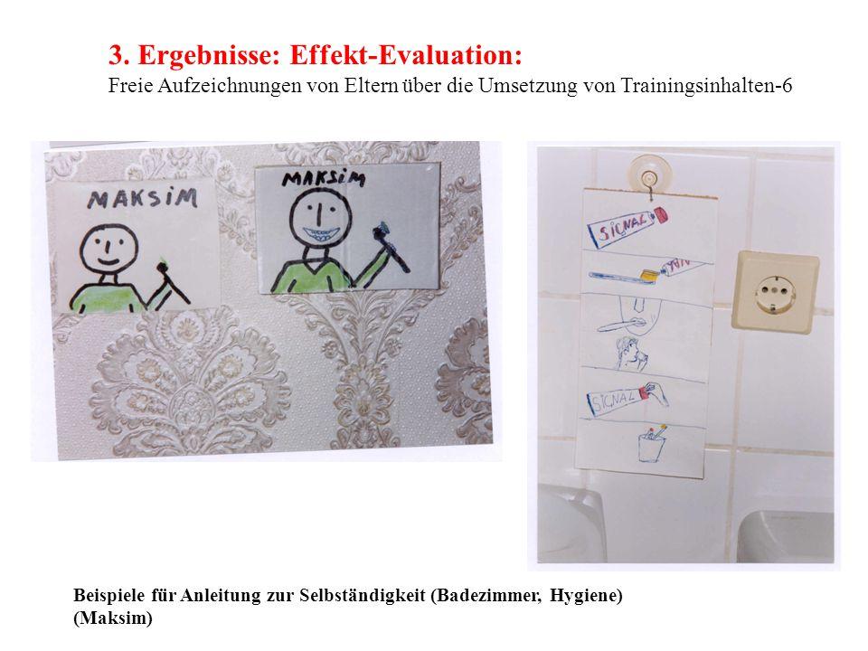 3. Ergebnisse: Effekt-Evaluation: Freie Aufzeichnungen von Eltern über die Umsetzung von Trainingsinhalten-6