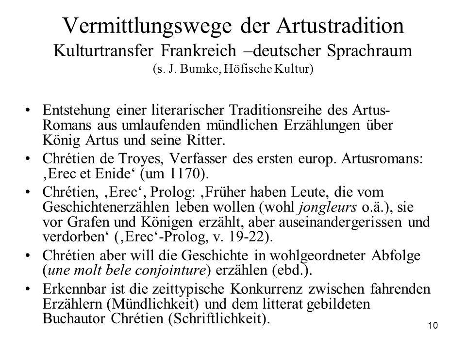 Vermittlungswege der Artustradition Kulturtransfer Frankreich –deutscher Sprachraum (s. J. Bumke, Höfische Kultur)