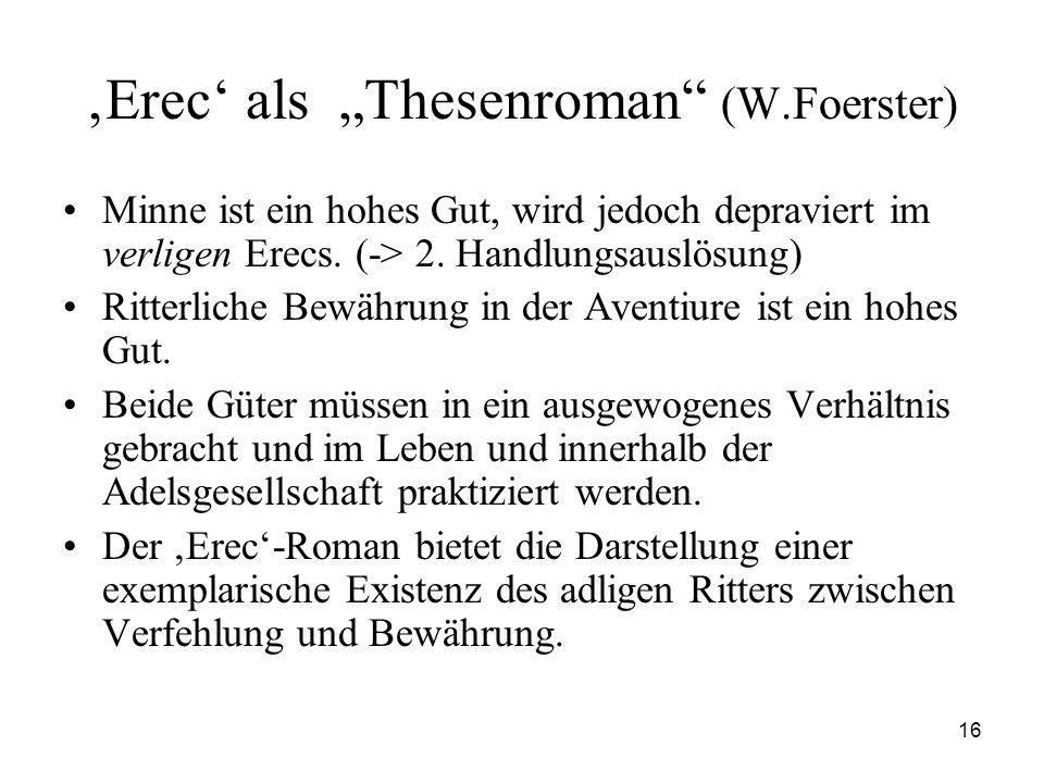 """'Erec' als """"Thesenroman (W.Foerster)"""