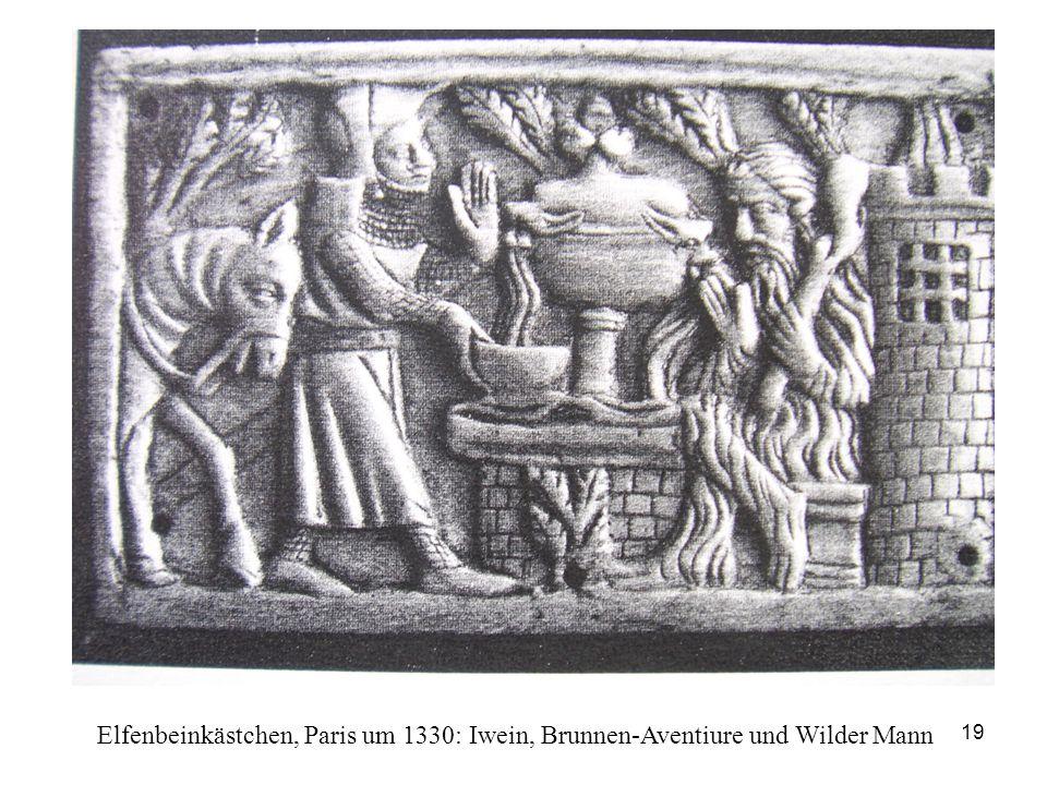 Elfenbeinkästchen, Paris um 1330: Iwein, Brunnen-Aventiure und Wilder Mann
