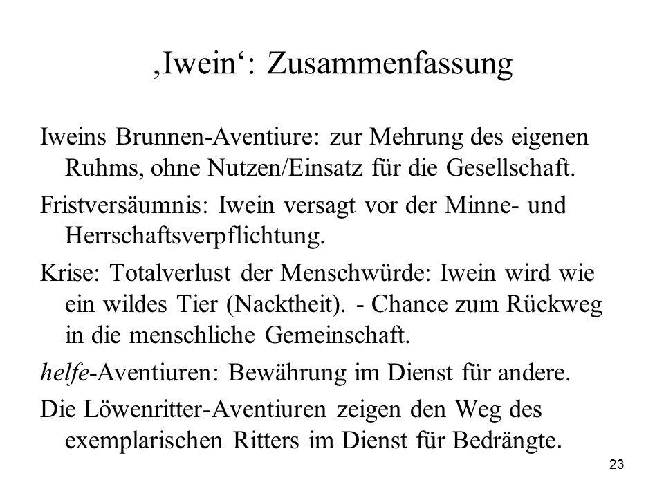 'Iwein': Zusammenfassung
