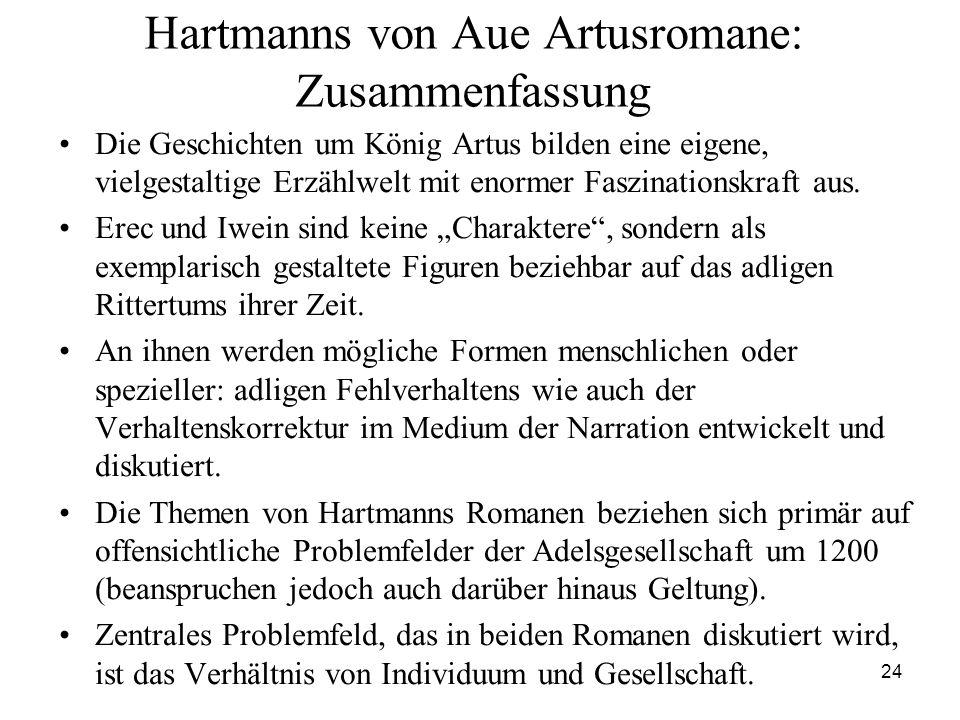 Hartmanns von Aue Artusromane: Zusammenfassung