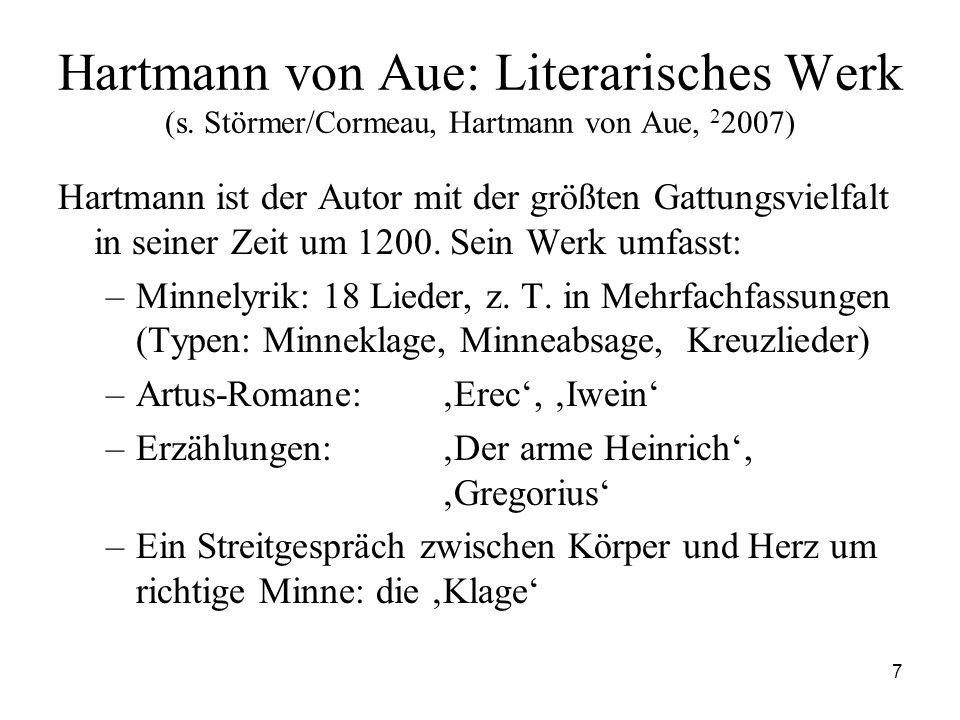 Hartmann von Aue: Literarisches Werk (s