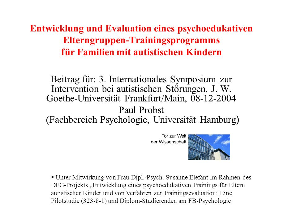 Paul Probst (Fachbereich Psychologie, Universität Hamburg)