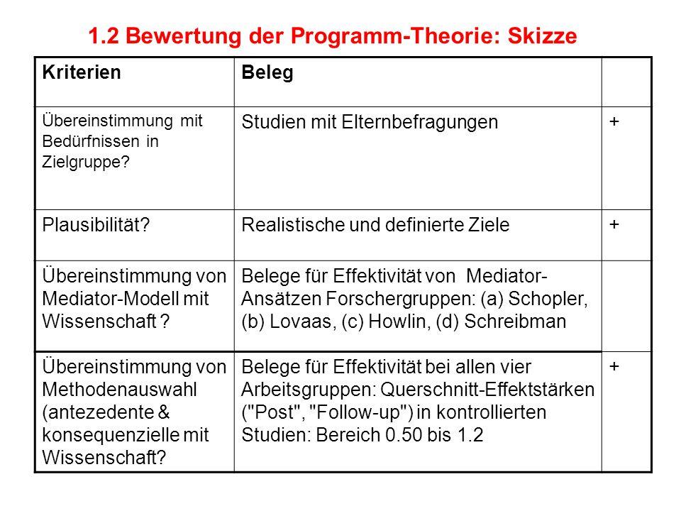 1.2 Bewertung der Programm-Theorie: Skizze