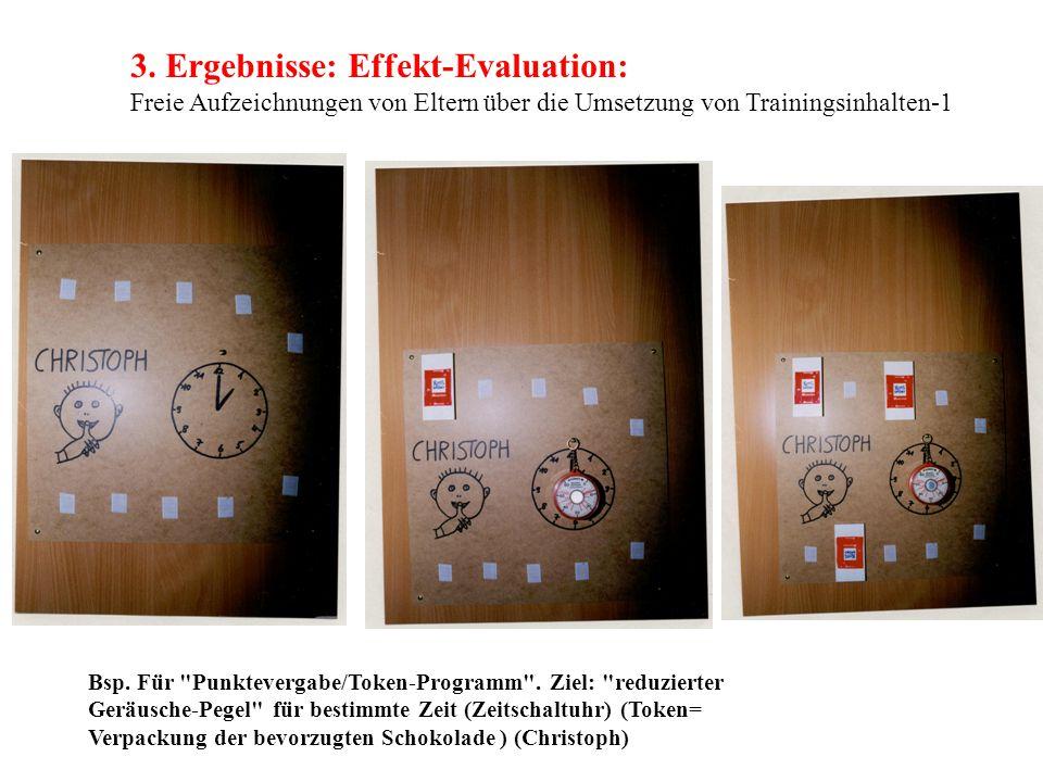 3. Ergebnisse: Effekt-Evaluation: Freie Aufzeichnungen von Eltern über die Umsetzung von Trainingsinhalten-1