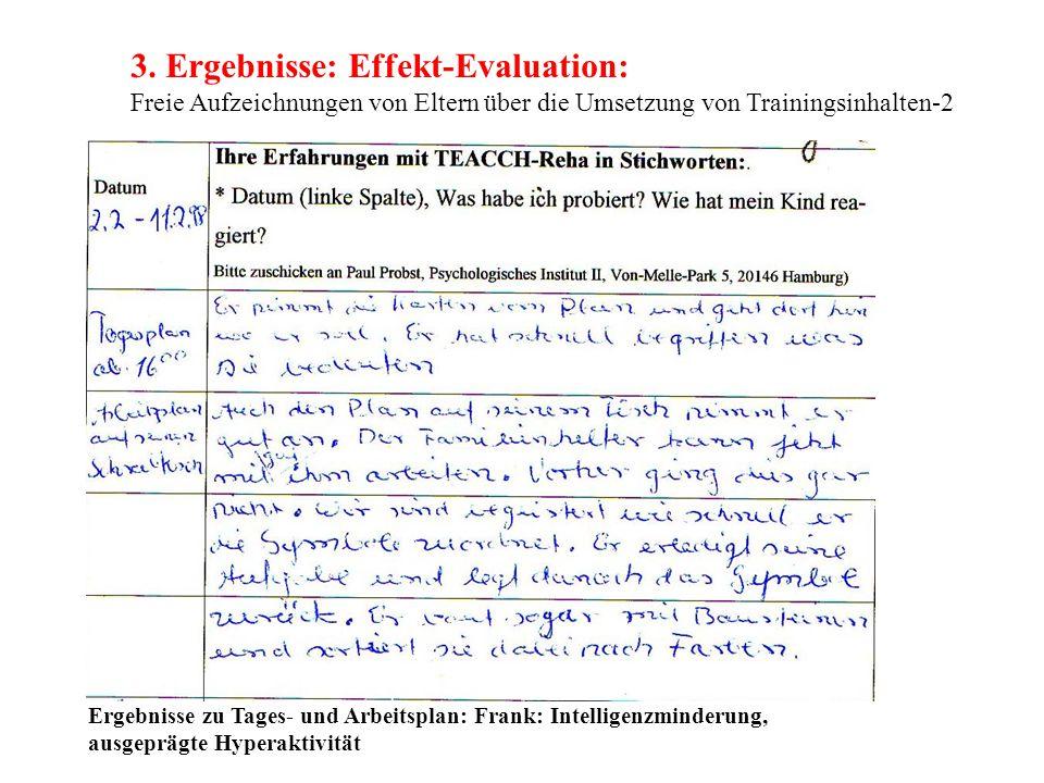 3. Ergebnisse: Effekt-Evaluation: Freie Aufzeichnungen von Eltern über die Umsetzung von Trainingsinhalten-2
