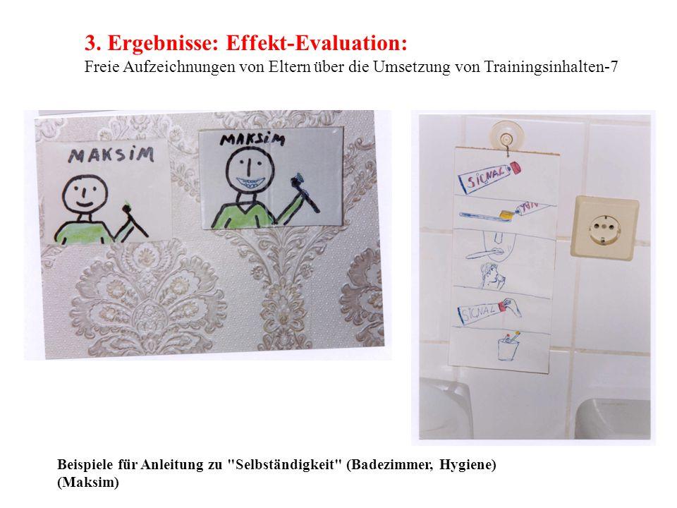 3. Ergebnisse: Effekt-Evaluation: Freie Aufzeichnungen von Eltern über die Umsetzung von Trainingsinhalten-7