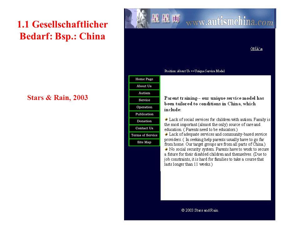 1.1 Gesellschaftlicher Bedarf: Bsp.: China