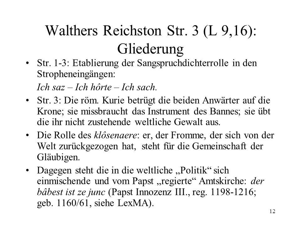 Walthers Reichston Str. 3 (L 9,16): Gliederung