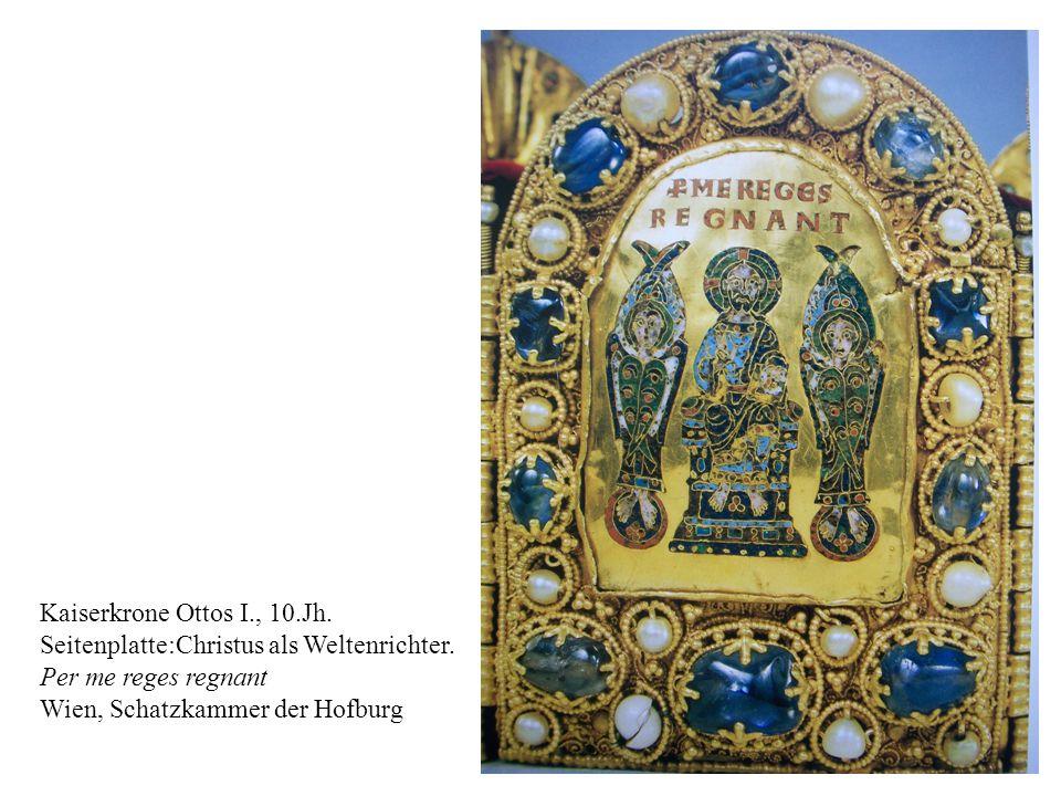 Kaiserkrone Ottos I., 10.Jh. Seitenplatte:Christus als Weltenrichter.