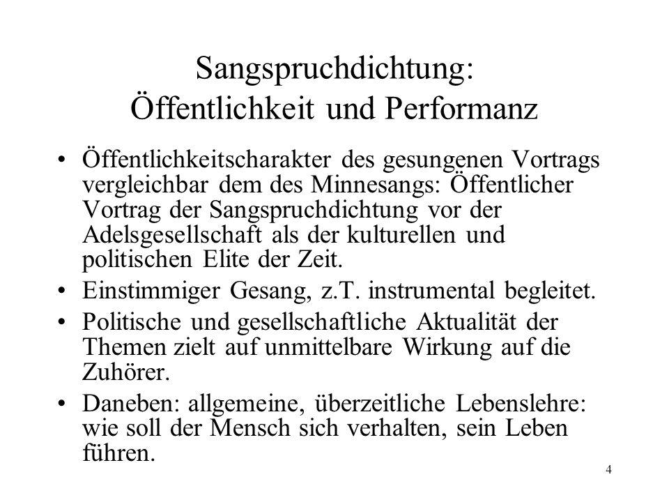 Sangspruchdichtung: Öffentlichkeit und Performanz