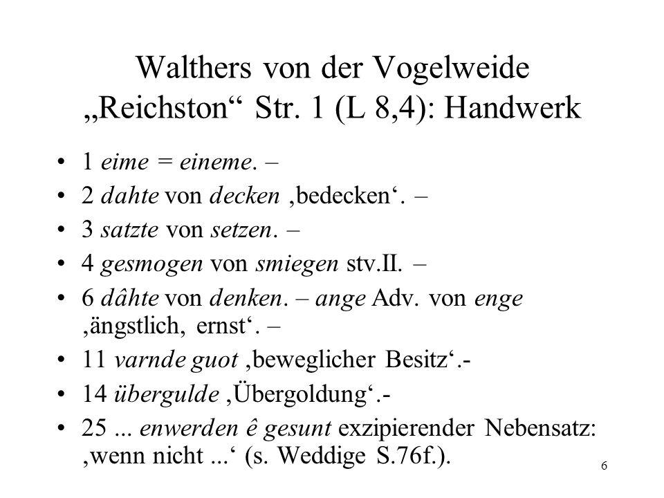 """Walthers von der Vogelweide """"Reichston Str. 1 (L 8,4): Handwerk"""