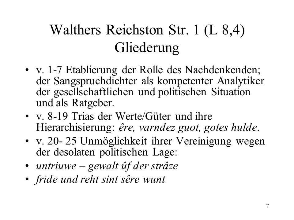 Walthers Reichston Str. 1 (L 8,4) Gliederung