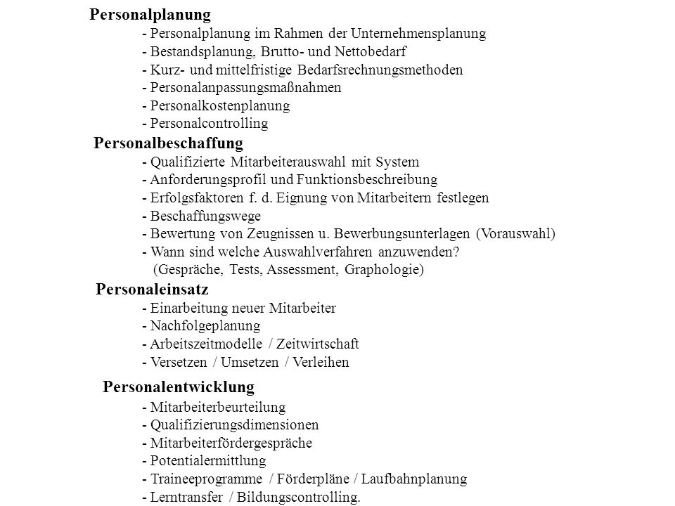 Personalentwicklung Personaleinsatz Personalplanung