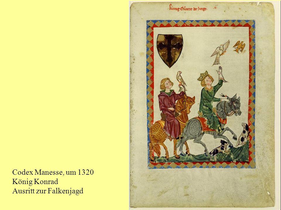 Codex Manesse, um 1320 König Konrad Ausritt zur Falkenjagd