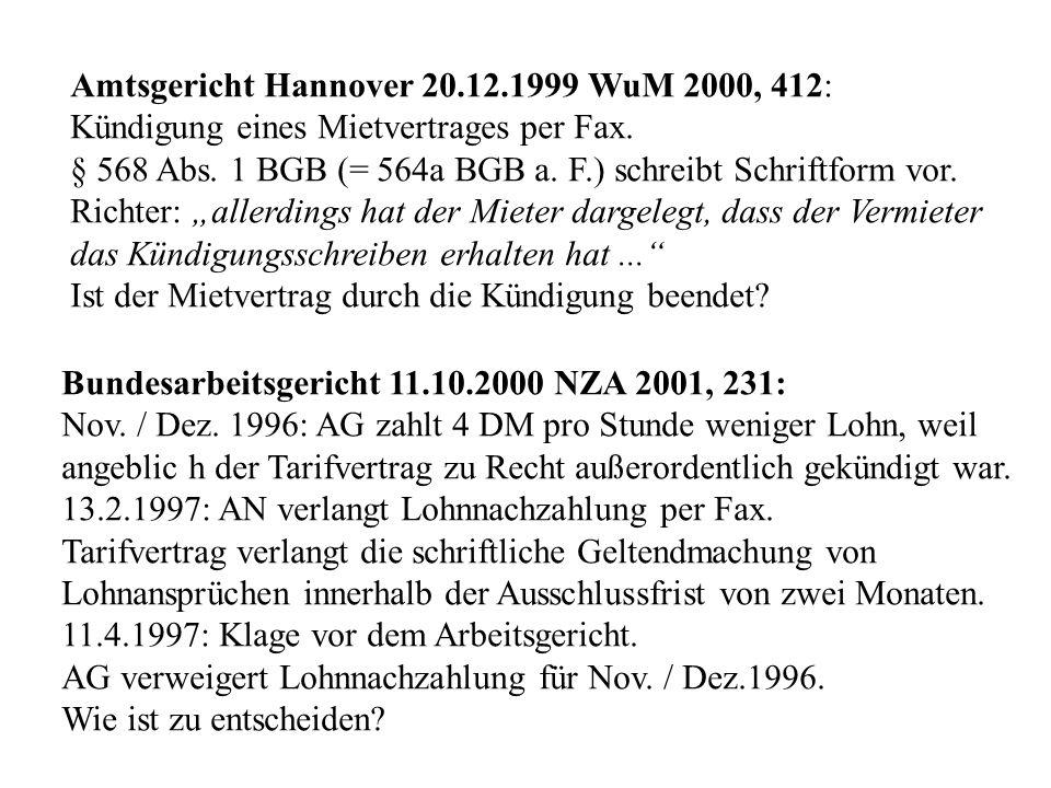 Amtsgericht Hannover 20.12.1999 WuM 2000, 412: