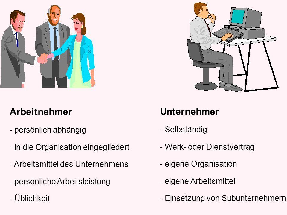 Arbeitnehmer Unternehmer persönlich abhängig - Selbständig