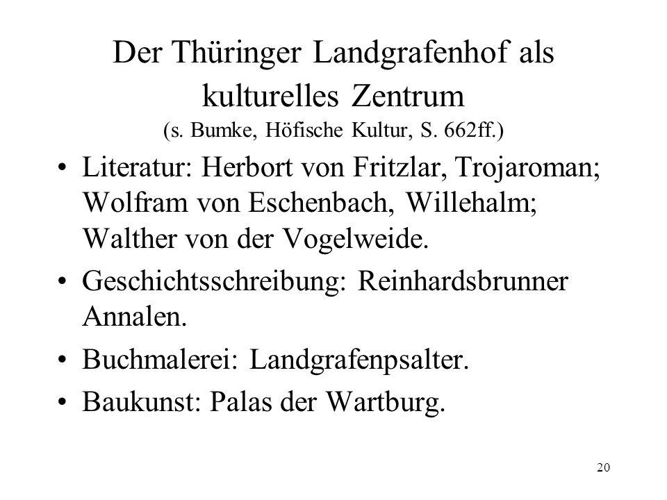 Der Thüringer Landgrafenhof als kulturelles Zentrum (s