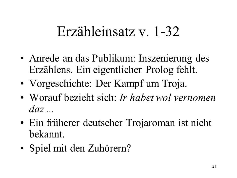 Erzähleinsatz v. 1-32 Anrede an das Publikum: Inszenierung des Erzählens. Ein eigentlicher Prolog fehlt.