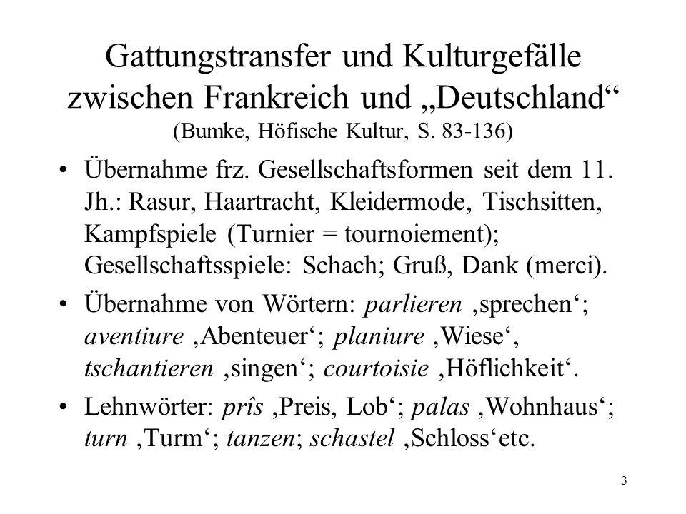 """Gattungstransfer und Kulturgefälle zwischen Frankreich und """"Deutschland (Bumke, Höfische Kultur, S. 83-136)"""