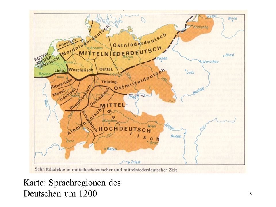 Karte: Sprachregionen des