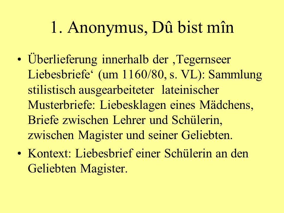 1. Anonymus, Dû bist mîn