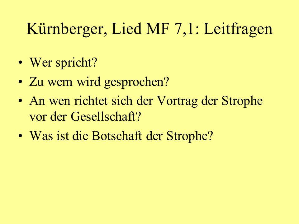 Kürnberger, Lied MF 7,1: Leitfragen