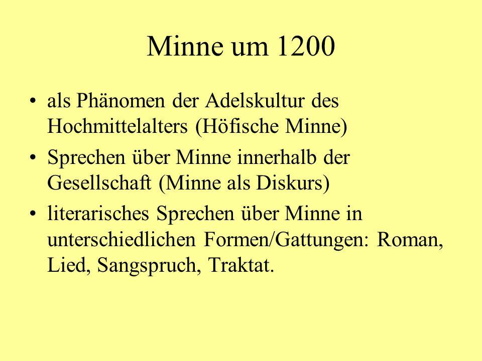 Minne um 1200 als Phänomen der Adelskultur des Hochmittelalters (Höfische Minne) Sprechen über Minne innerhalb der Gesellschaft (Minne als Diskurs)