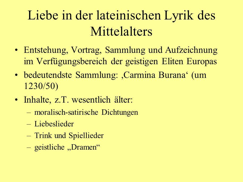 Liebe in der lateinischen Lyrik des Mittelalters