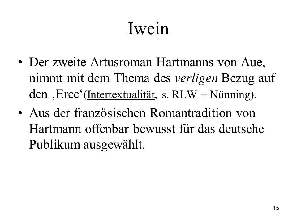 Iwein Der zweite Artusroman Hartmanns von Aue, nimmt mit dem Thema des verligen Bezug auf den 'Erec'(Intertextualität, s. RLW + Nünning).