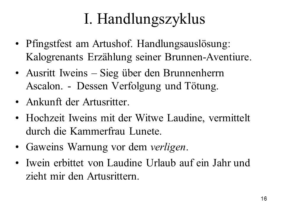 I. Handlungszyklus Pfingstfest am Artushof. Handlungsauslösung: Kalogrenants Erzählung seiner Brunnen-Aventiure.