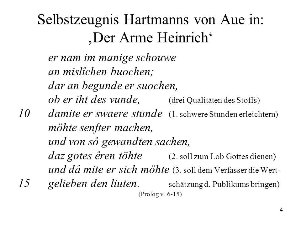 Selbstzeugnis Hartmanns von Aue in: 'Der Arme Heinrich'