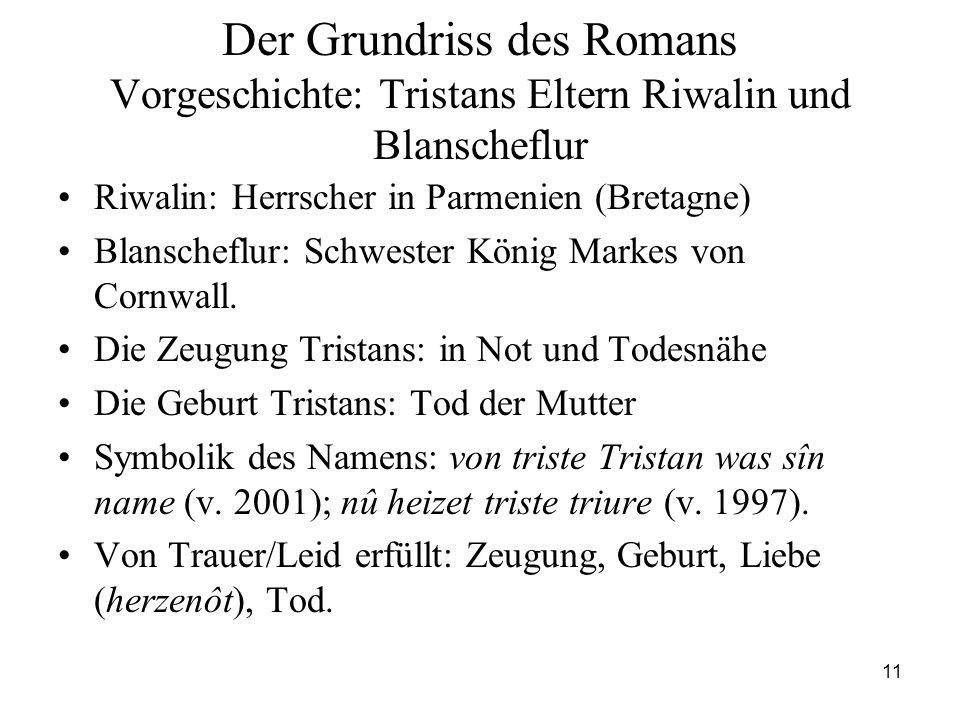 Der Grundriss des Romans Vorgeschichte: Tristans Eltern Riwalin und Blanscheflur
