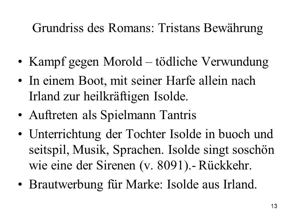Grundriss des Romans: Tristans Bewährung