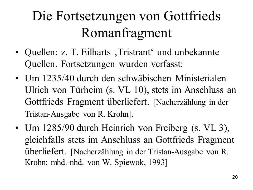 Die Fortsetzungen von Gottfrieds Romanfragment