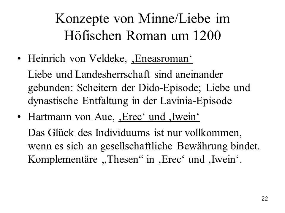 Konzepte von Minne/Liebe im Höfischen Roman um 1200