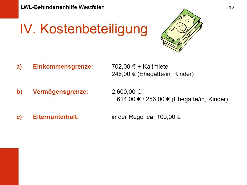 IV. Kostenbeteiligung Einkommensgrenze: 702,00 € + Kaltmiete 246,00 € (Ehegatte/in, Kinder)