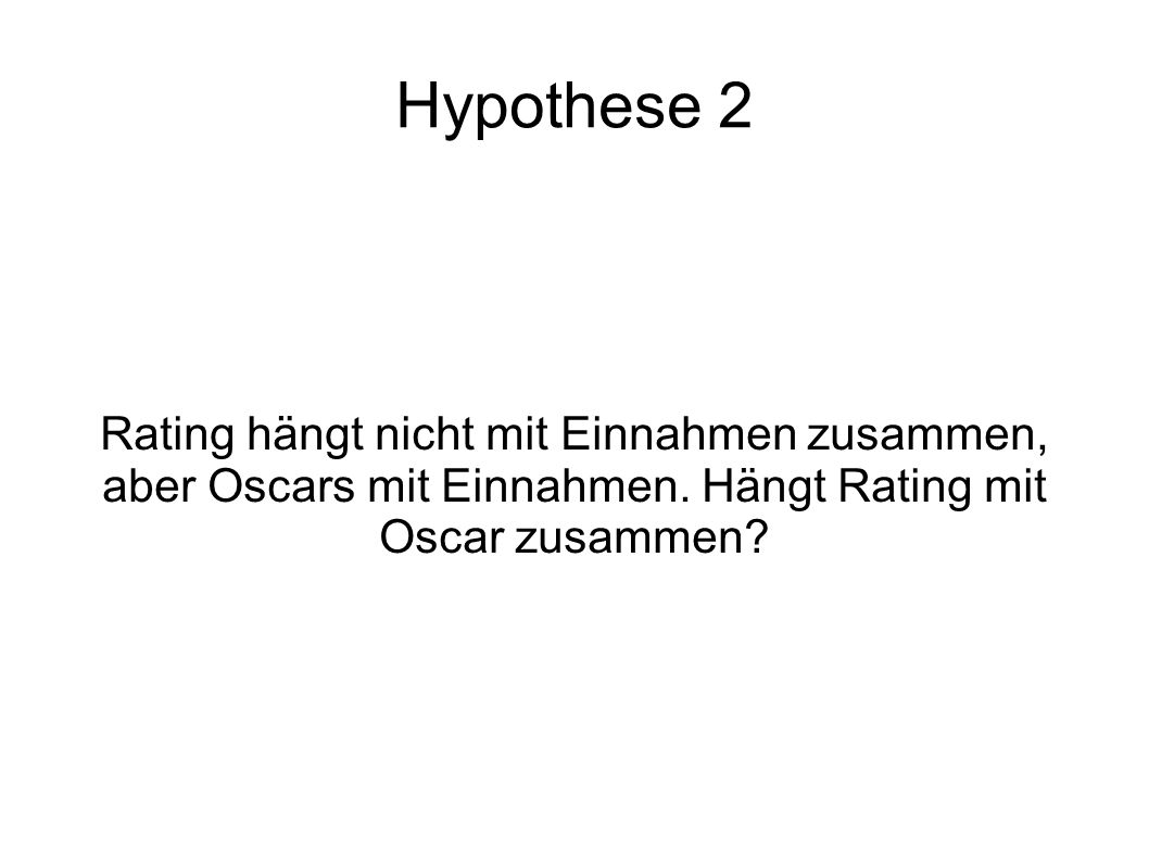Hypothese 2 Rating hängt nicht mit Einnahmen zusammen,