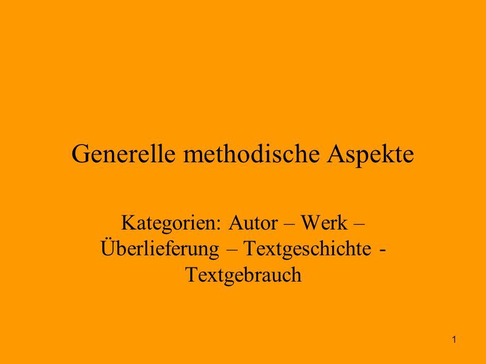 Generelle methodische Aspekte