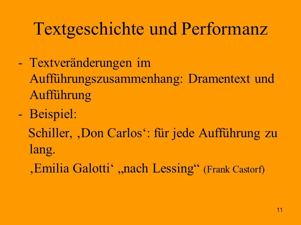 Textgeschichte und Performanz