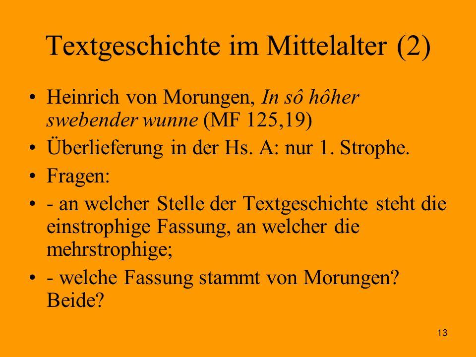Textgeschichte im Mittelalter (2)
