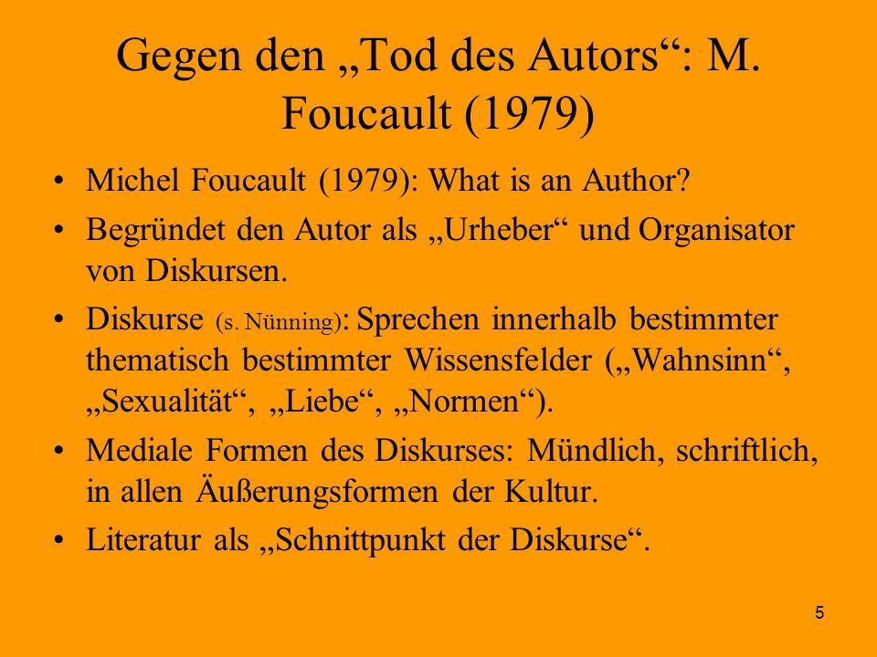 """Gegen den """"Tod des Autors : M. Foucault (1979)"""