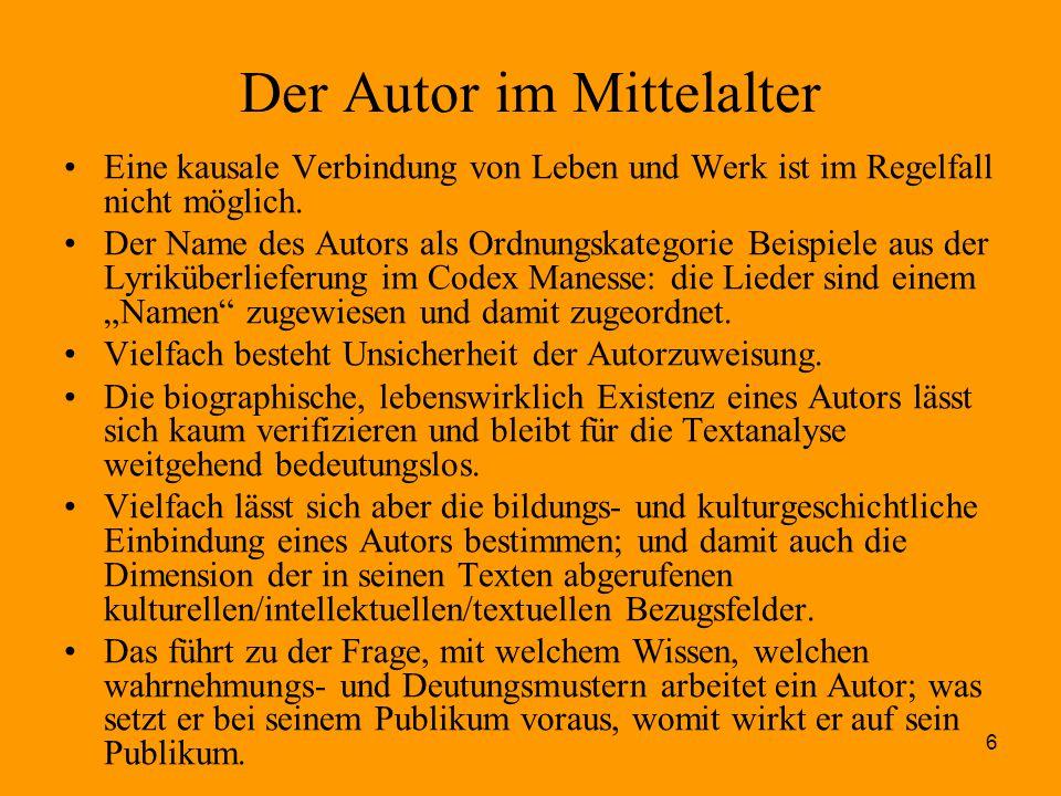 Der Autor im Mittelalter