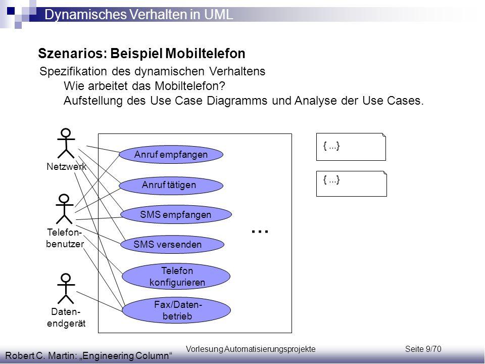 ... Dynamisches Verhalten in UML Szenarios: Beispiel Mobiltelefon
